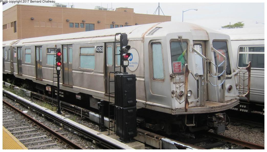 (260k, 1044x594)<br><b>Country:</b> United States<br><b>City:</b> New York<br><b>System:</b> New York City Transit<br><b>Location:</b> Rockaway Park Yard<br><b>Car:</b> R-40 (St. Louis, 1968) 4393 <br><b>Photo by:</b> Bernard Chatreau<br><b>Date:</b> 9/25/2011<br><b>Viewed (this week/total):</b> 0 / 745