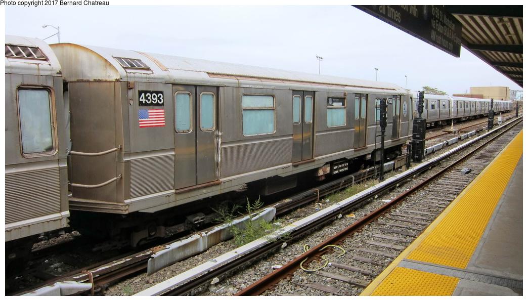 (282k, 1044x595)<br><b>Country:</b> United States<br><b>City:</b> New York<br><b>System:</b> New York City Transit<br><b>Location:</b> Rockaway Park Yard<br><b>Car:</b> R-40 (St. Louis, 1968) 4393 <br><b>Photo by:</b> Bernard Chatreau<br><b>Date:</b> 9/25/2011<br><b>Viewed (this week/total):</b> 0 / 733