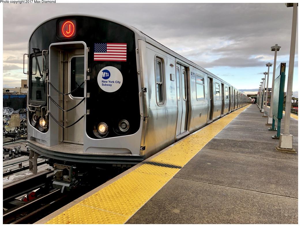 (317k, 1044x788)<br><b>Country:</b> United States<br><b>City:</b> New York<br><b>System:</b> New York City Transit<br><b>Line:</b> BMT Nassau Street-Jamaica Line<br><b>Location:</b> Alabama Avenue<br><b>Route:</b> J<br><b>Car:</b> R-179 (Bombardier, 2016-2019) 3065 <br><b>Photo by:</b> Max Diamond<br><b>Date:</b> 11/19/2017<br><b>Notes:</b> First day of service; 30 day in-service testing.<br><b>Viewed (this week/total):</b> 5 / 2679