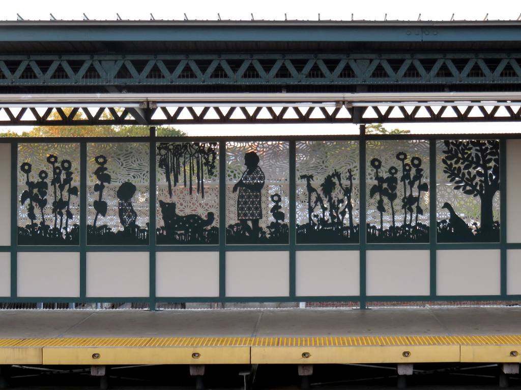 (134k, 1024x768)<br><b>Country:</b> United States<br><b>City:</b> New York<br><b>System:</b> New York City Transit<br><b>Line:</b> IRT Brooklyn Line<br><b>Location:</b> Van Siclen Avenue<br><b>Photo by:</b> Robbie Rosenfeld<br><b>Date:</b> 9/26/2017<br><b>Artwork:</b> <i>Urban Garden Rail</i>, Saya Woolfalk, 2017<br><b>Viewed (this week/total):</b> 0 / 927