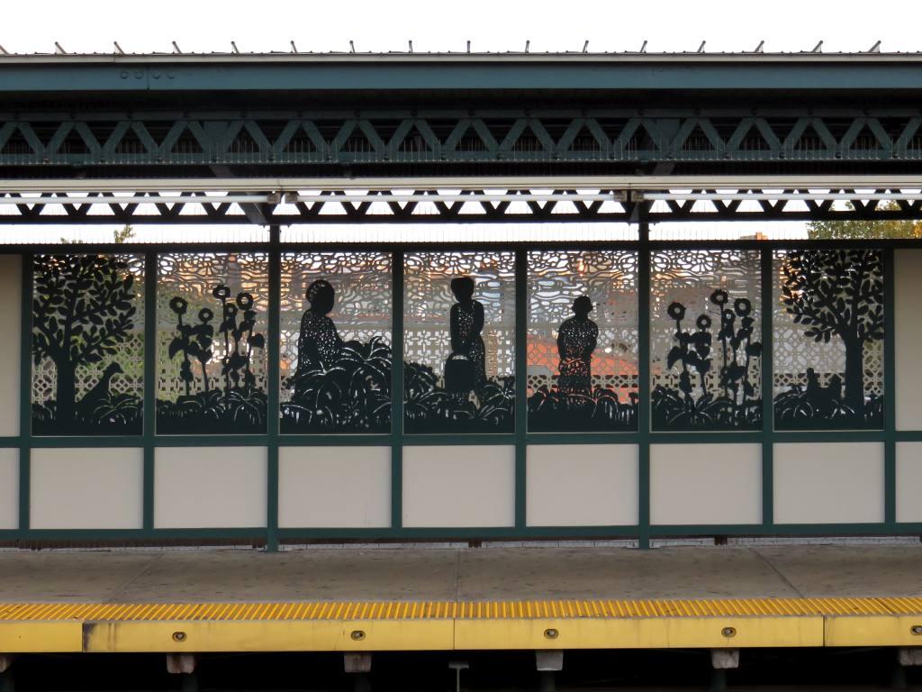 (132k, 1024x768)<br><b>Country:</b> United States<br><b>City:</b> New York<br><b>System:</b> New York City Transit<br><b>Line:</b> IRT Brooklyn Line<br><b>Location:</b> Van Siclen Avenue<br><b>Photo by:</b> Robbie Rosenfeld<br><b>Date:</b> 9/26/2017<br><b>Artwork:</b> <i>Urban Garden Rail</i>, Saya Woolfalk, 2017<br><b>Viewed (this week/total):</b> 0 / 860