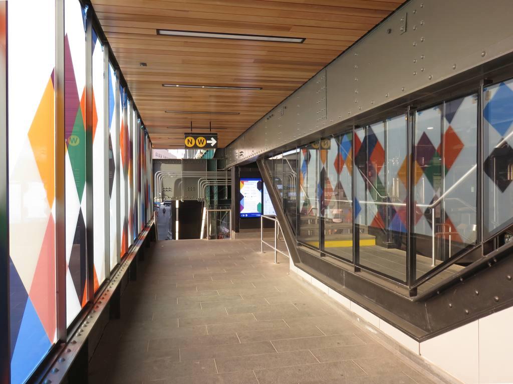 (118k, 1024x768)<br><b>Country:</b> United States<br><b>City:</b> New York<br><b>System:</b> New York City Transit<br><b>Line:</b> BMT Astoria Line<br><b>Location:</b> 30th/Grand Aves.<br><b>Photo by:</b> Robbie Rosenfeld<br><b>Date:</b> 6/26/2018<br><b>Artwork:</b> <i>Perasma I and II</i>, Stephen Westfall, 2018<br><b>Viewed (this week/total):</b> 0 / 739