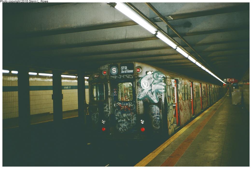 (186k, 1044x701)<br><b>Country:</b> United States<br><b>City:</b> New York<br><b>System:</b> New York City Transit<br><b>Line:</b> IND 6th Avenue Line<br><b>Location:</b> Grand Street<br><b>Route:</b> S<br><b>Car:</b> R-27 (St. Louis, 1960) 8204 <br><b>Photo by:</b> Glenn L. Rowe<br><b>Date:</b> 12/1988<br><b>Viewed (this week/total):</b> 9 / 2210
