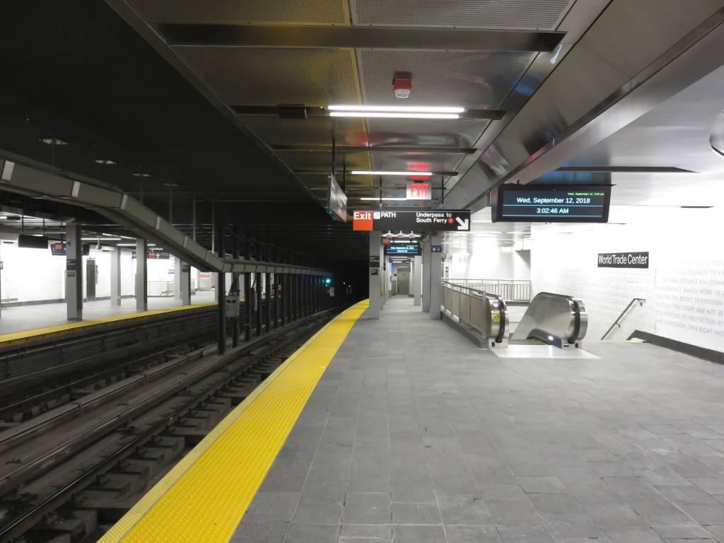 (96k, 1024x768)<br><b>Country:</b> United States<br><b>City:</b> New York<br><b>System:</b> New York City Transit<br><b>Line:</b> IRT West Side Line<br><b>Location:</b> Cortlandt Street-World Trade Center<br><b>Photo by:</b> Robbie Rosenfeld<br><b>Date:</b> 9/12/2018<br><b>Notes:</b> New station - platform<br><b>Viewed (this week/total):</b> 4 / 1028