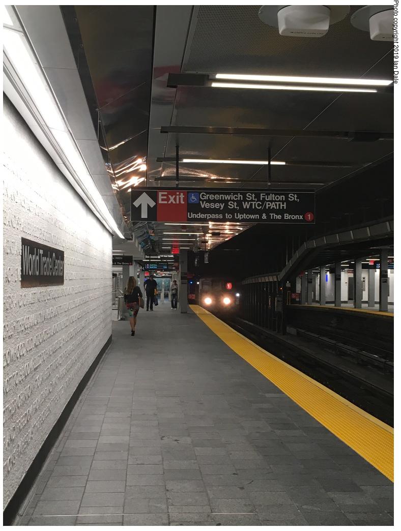 (282k, 788x1044)<br><b>Country:</b> United States<br><b>City:</b> New York<br><b>System:</b> New York City Transit<br><b>Line:</b> IRT West Side Line<br><b>Location:</b> Cortlandt Street-World Trade Center<br><b>Photo by:</b> Ian Dale<br><b>Date:</b> 9/12/2018<br><b>Notes:</b> New station - platform<br><b>Viewed (this week/total):</b> 3 / 647