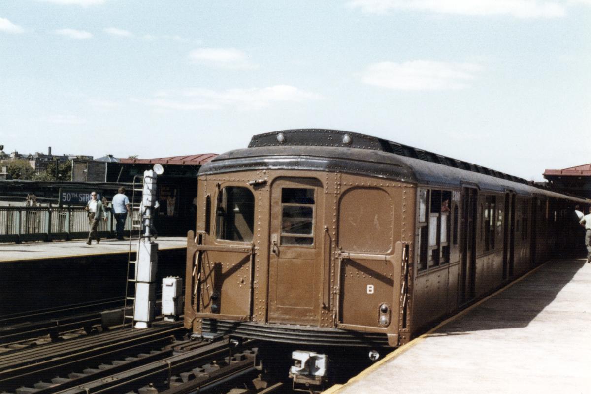(445k, 1200x800)<br><b>Country:</b> United States<br><b>City:</b> New York<br><b>System:</b> New York City Transit<br><b>Line:</b> BMT West End Line<br><b>Location:</b> 50th Street<br><b>Car:</b> BMT A/B-Type Standard 2390-1-2 <br><b>Collection of:</b> Nicholas Fabrizio<br><b>Date:</b> 9/1/1977<br><b>Viewed (this week/total):</b> 0 / 297