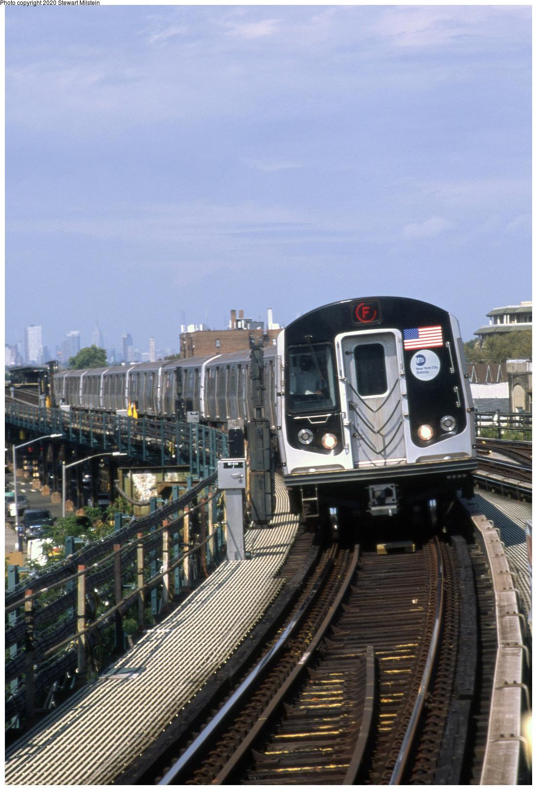 (779k, 1102x1619)<br><b>Country:</b> United States<br><b>City:</b> New York<br><b>System:</b> New York City Transit<br><b>Line:</b> BMT Culver Line<br><b>Location:</b> Kings Highway<br><b>Route:</b> F<br><b>Car:</b> R-160B (Option 1) (Kawasaki, 2008-2009) 9172 <br><b>Photo by:</b> Stewart Milstein<br><b>Date:</b> 9/27/2019<br><b>Viewed (this week/total):</b> 1 / 267