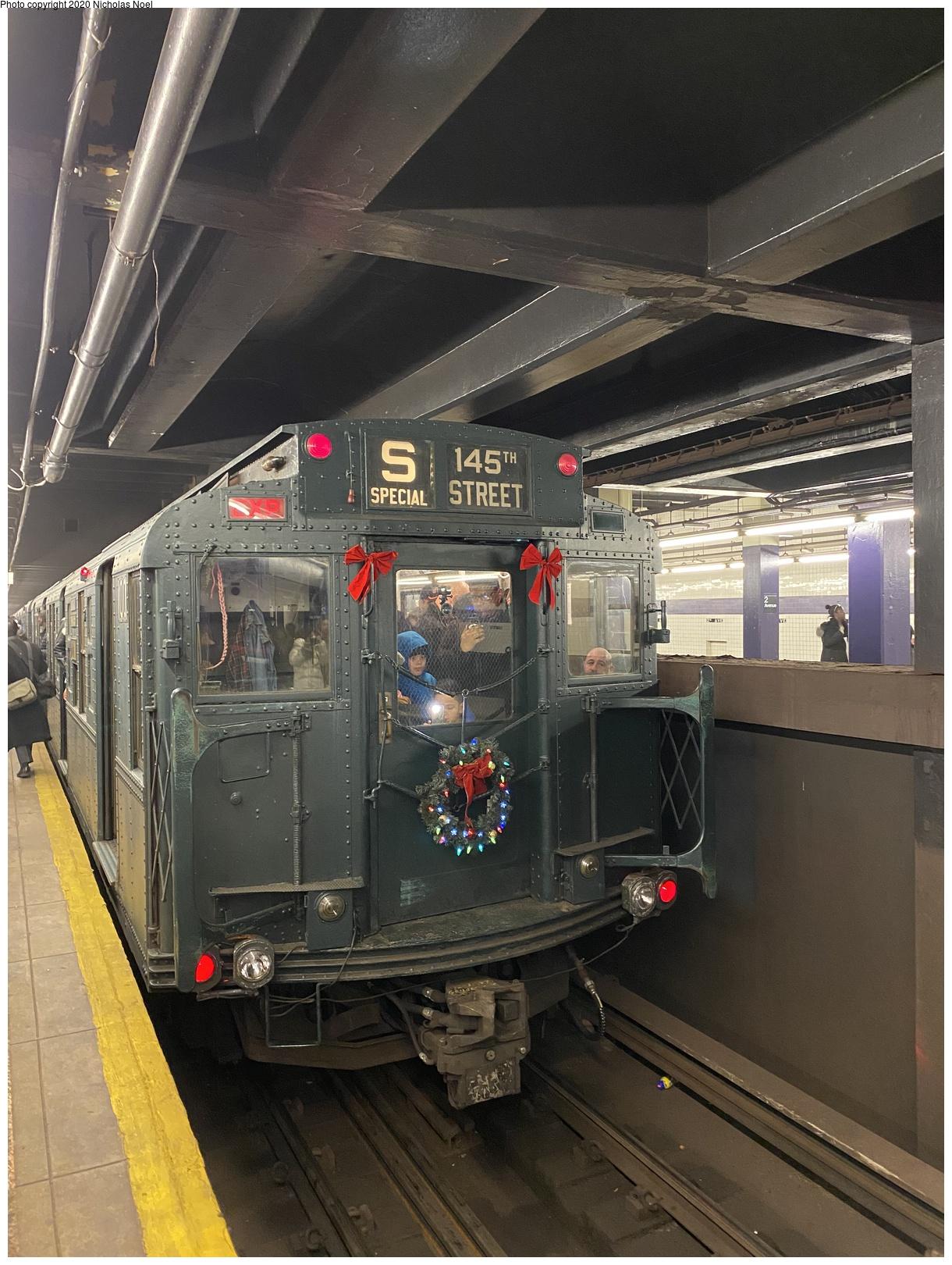 (724k, 1220x1620)<br><b>Country:</b> United States<br><b>City:</b> New York<br><b>System:</b> New York City Transit<br><b>Line:</b> IND 6th Avenue Line<br><b>Location:</b> 2nd Avenue<br><b>Route:</b> Museum Train Service<br><b>Car:</b> R-1 (American Car & Foundry, 1930-1931) 100 <br><b>Photo by:</b> Nicholas Noel<br><b>Date:</b> 12/22/2019<br><b>Viewed (this week/total):</b> 0 / 321
