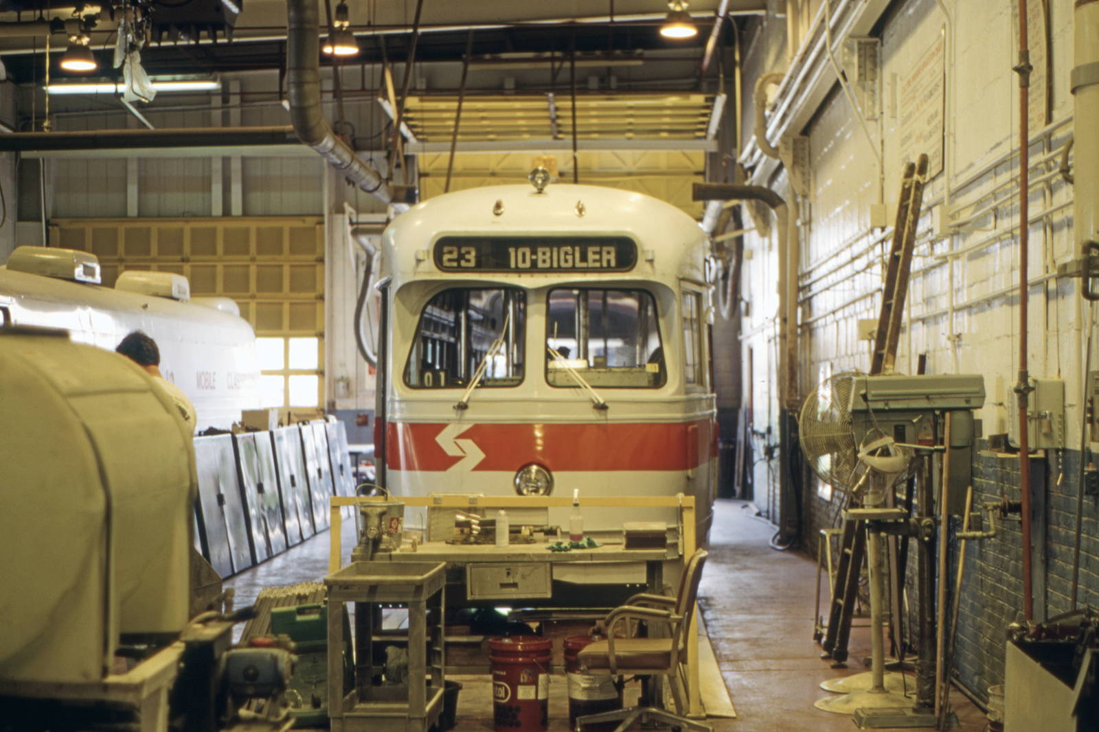 (658k, 1600x1067)<br><b>Country:</b> United States<br><b>City:</b> Philadelphia, PA<br><b>System:</b> SEPTA (or Predecessor)<br><b>Line:</b> Rt. 23-Germantown<br><b>Location:</b> Germantown Depot<br><b>Car:</b> PTC/SEPTA Postwar All-electric PCC (St.Louis, 1948) 2182 <br><b>Collection of:</b> David Pirmann<br><b>Date:</b> 5/15/1995<br><b>Viewed (this week/total):</b> 0 / 73