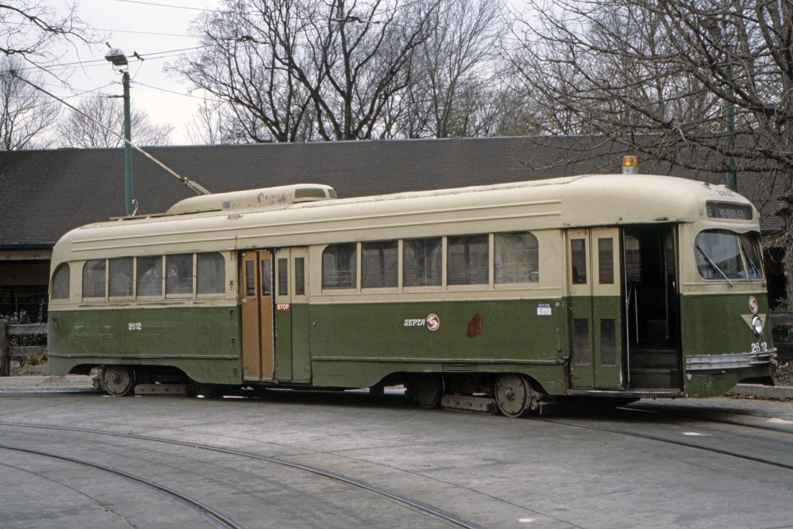 (934k, 1600x1067)<br><b>Country:</b> United States<br><b>City:</b> Philadelphia, PA<br><b>System:</b> SEPTA (or Predecessor)<br><b>Line:</b> Rt. 23-Germantown<br><b>Location:</b> Bethlehem Pike/Chestnut Hill Loop<br><b>Car:</b> PTC/SEPTA Wartime Air-car PCC (St.Louis, 1942) 2612 <br><b>Collection of:</b> David Pirmann<br><b>Date:</b> 3/1985<br><b>Viewed (this week/total):</b> 2 / 90