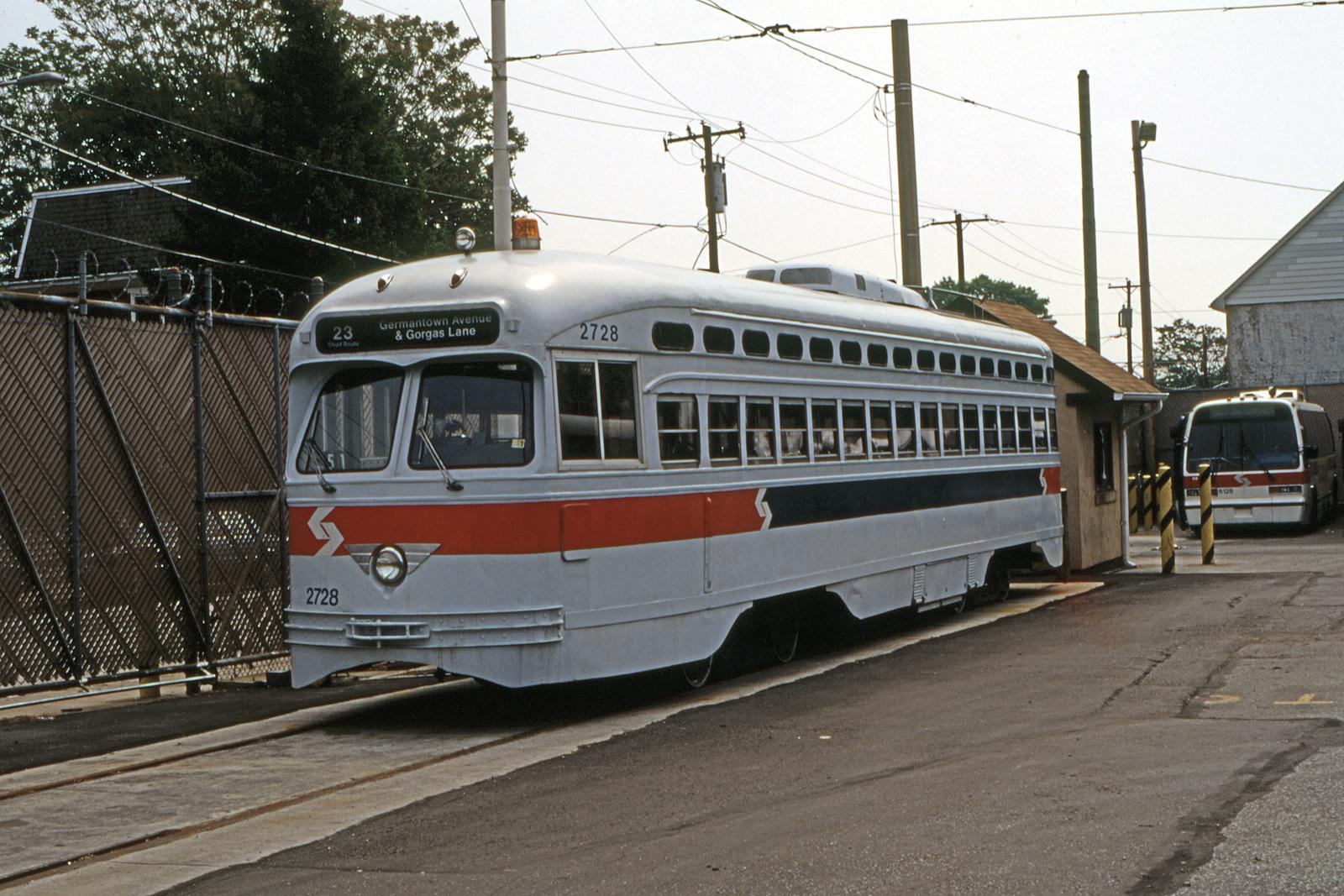 (954k, 1600x1067)<br><b>Country:</b> United States<br><b>City:</b> Philadelphia, PA<br><b>System:</b> SEPTA (or Predecessor)<br><b>Line:</b> Rt. 23-Germantown<br><b>Location:</b> Germantown Depot<br><b>Car:</b> PTC/SEPTA Postwar All-electric PCC (St.Louis, 1947) 2728 <br><b>Collection of:</b> David Pirmann<br><b>Date:</b> 5/15/1995<br><b>Viewed (this week/total):</b> 1 / 98