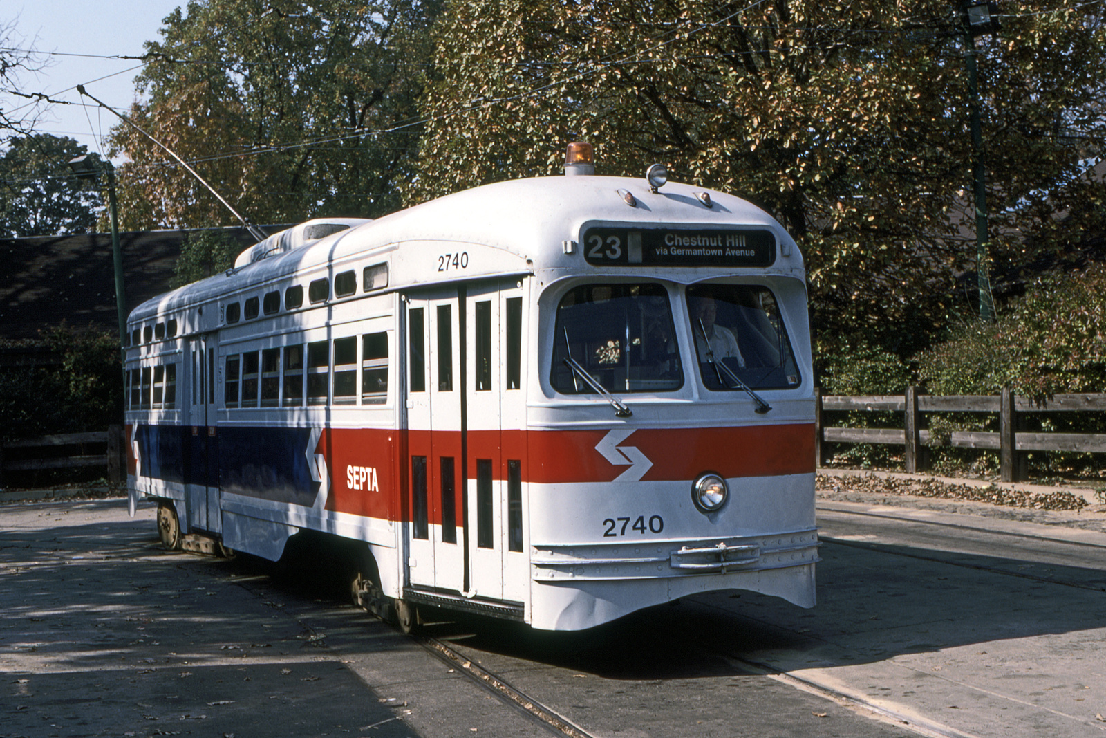 (989k, 1600x1067)<br><b>Country:</b> United States<br><b>City:</b> Philadelphia, PA<br><b>System:</b> SEPTA (or Predecessor)<br><b>Line:</b> Rt. 23-Germantown<br><b>Location:</b> Bethlehem Pike/Chestnut Hill Loop<br><b>Car:</b> PTC/SEPTA Postwar All-electric PCC (St.Louis, 1947) 2740 <br><b>Collection of:</b> David Pirmann<br><b>Date:</b> 10/15/1989<br><b>Viewed (this week/total):</b> 0 / 72