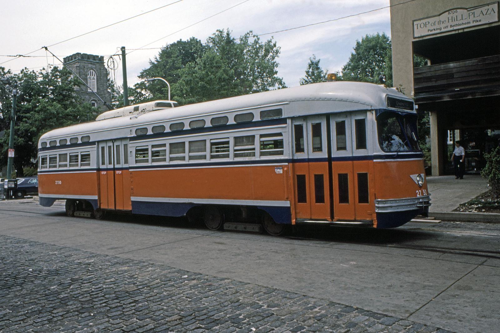 (885k, 1600x1067)<br><b>Country:</b> United States<br><b>City:</b> Philadelphia, PA<br><b>System:</b> SEPTA (or Predecessor)<br><b>Line:</b> Rt. 23-Germantown<br><b>Location:</b> Bethlehem Pike/Chestnut Hill Loop<br><b>Car:</b> PTC/SEPTA Postwar All-electric PCC (St.Louis, 1947) 2750 <br><b>Collection of:</b> David Pirmann<br><b>Date:</b> 9/1985<br><b>Viewed (this week/total):</b> 3 / 82