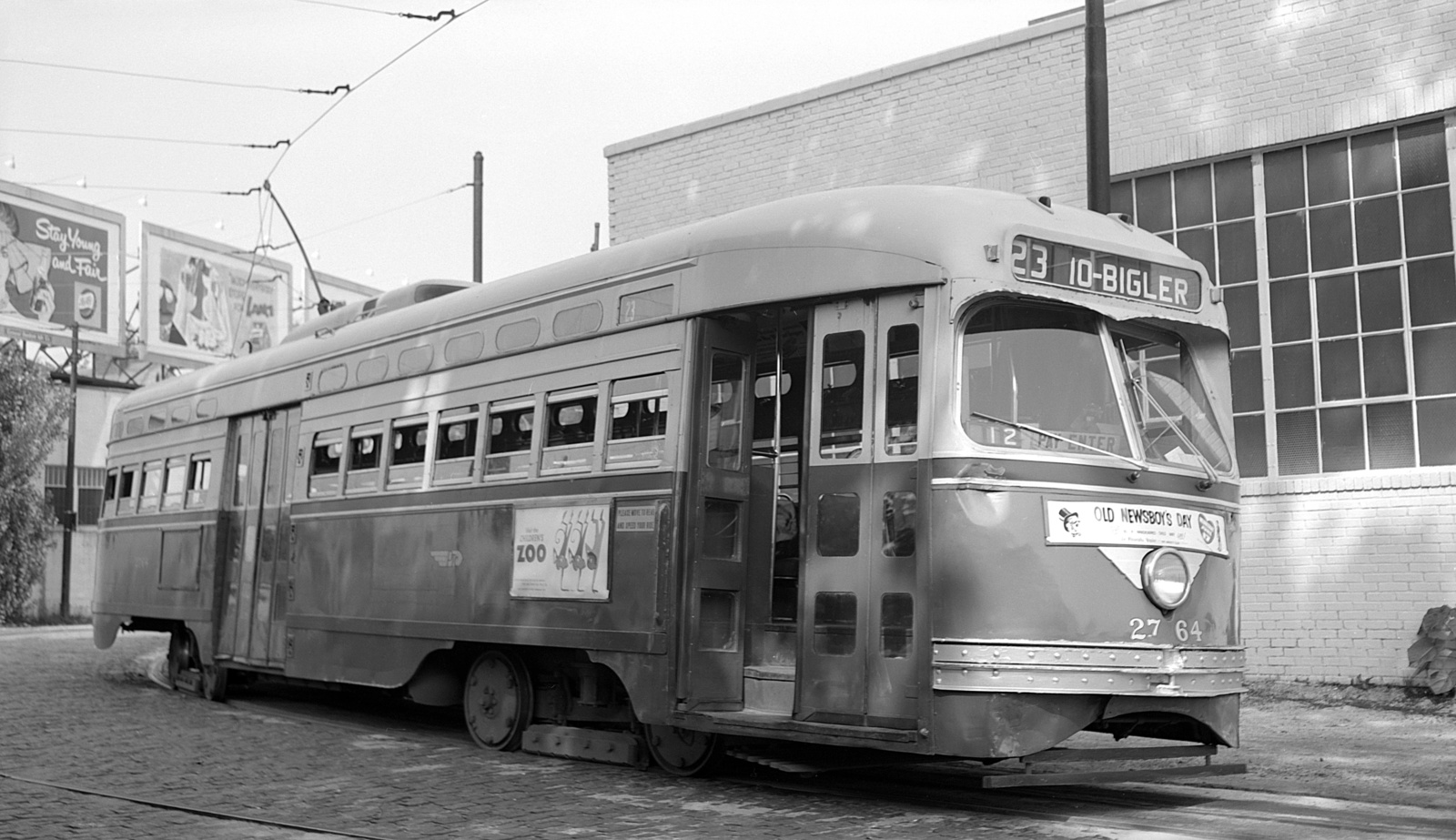 (446k, 1600x923)<br><b>Country:</b> United States<br><b>City:</b> Philadelphia, PA<br><b>System:</b> SEPTA (or Predecessor)<br><b>Line:</b> Rt. 23-Germantown<br><b>Location:</b> Bethlehem Pike/Chestnut Hill Loop<br><b>Car:</b> PTC/SEPTA Postwar All-electric PCC (St.Louis, 1947) 2764 <br><b>Collection of:</b> David Pirmann<br><b>Date:</b> 6/9/1959<br><b>Viewed (this week/total):</b> 0 / 85