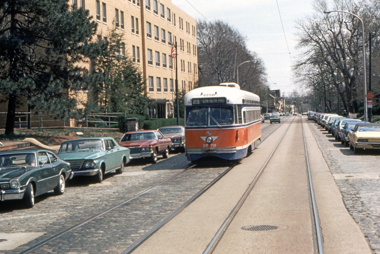 (873k, 1600x1067)<br><b>Country:</b> United States<br><b>City:</b> Philadelphia, PA<br><b>System:</b> SEPTA (or Predecessor)<br><b>Line:</b> Rt. 23-Germantown<br><b>Location:</b> Germantown/Upsal<br><b>Car:</b> PTC/SEPTA Postwar All-electric PCC (St.Louis, 1947) 2770 <br><b>Collection of:</b> David Pirmann<br><b>Viewed (this week/total):</b> 0 / 77