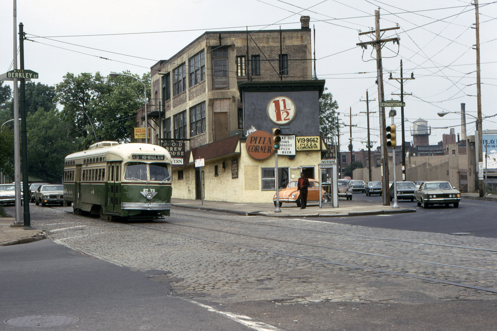 (827k, 1600x1067)<br><b>Country:</b> United States<br><b>City:</b> Philadelphia, PA<br><b>System:</b> SEPTA (or Predecessor)<br><b>Line:</b> Rt. 23-Germantown<br><b>Location:</b> Germantown/Berkley<br><b>Car:</b> PTC/SEPTA Postwar All-electric PCC (St.Louis, 1947) 2775 <br><b>Collection of:</b> David Pirmann<br><b>Date:</b> 5/1974<br><b>Viewed (this week/total):</b> 3 / 120