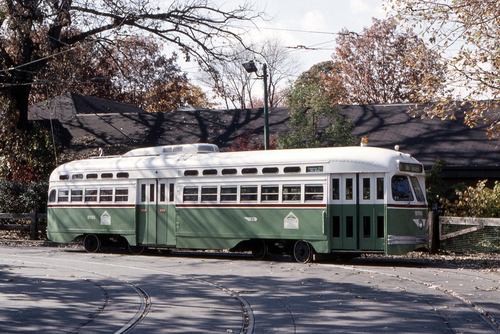 (1148k, 1600x1067)<br><b>Country:</b> United States<br><b>City:</b> Philadelphia, PA<br><b>System:</b> SEPTA (or Predecessor)<br><b>Line:</b> Rt. 23-Germantown<br><b>Location:</b> Bethlehem Pike/Chestnut Hill Loop<br><b>Car:</b> PTC/SEPTA Postwar All-electric PCC (St.Louis, 1947) 2785 <br><b>Collection of:</b> David Pirmann<br><b>Date:</b> 10/1990<br><b>Viewed (this week/total):</b> 0 / 66