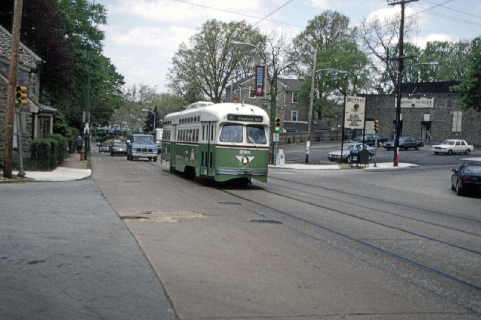 (758k, 1600x1067)<br><b>Country:</b> United States<br><b>City:</b> Philadelphia, PA<br><b>System:</b> SEPTA (or Predecessor)<br><b>Line:</b> Rt. 23-Germantown<br><b>Location:</b> Germantown/Gowen<br><b>Car:</b> PTC/SEPTA Postwar All-electric PCC (St.Louis, 1947) 2785 <br><b>Collection of:</b> David Pirmann<br><b>Date:</b> 5/6/1995<br><b>Viewed (this week/total):</b> 1 / 51