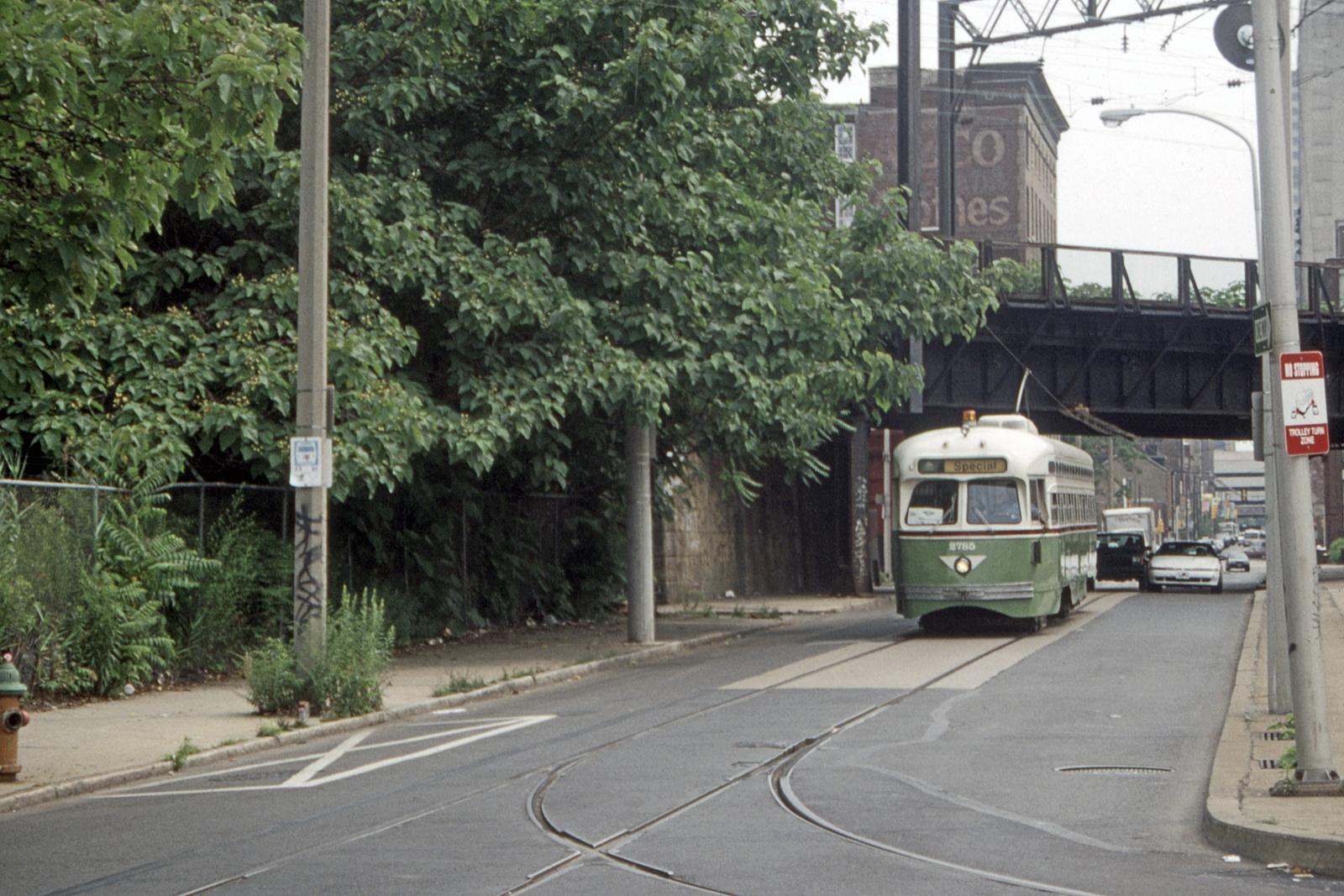(844k, 1600x1067)<br><b>Country:</b> United States<br><b>City:</b> Philadelphia, PA<br><b>System:</b> SEPTA (or Predecessor)<br><b>Line:</b> Rt. 23-Germantown<br><b>Location:</b> 11th/Noble<br><b>Car:</b> PTC/SEPTA Postwar All-electric PCC (St.Louis, 1947) 2785 <br><b>Collection of:</b> David Pirmann<br><b>Date:</b> 7/1/1995<br><b>Viewed (this week/total):</b> 0 / 68