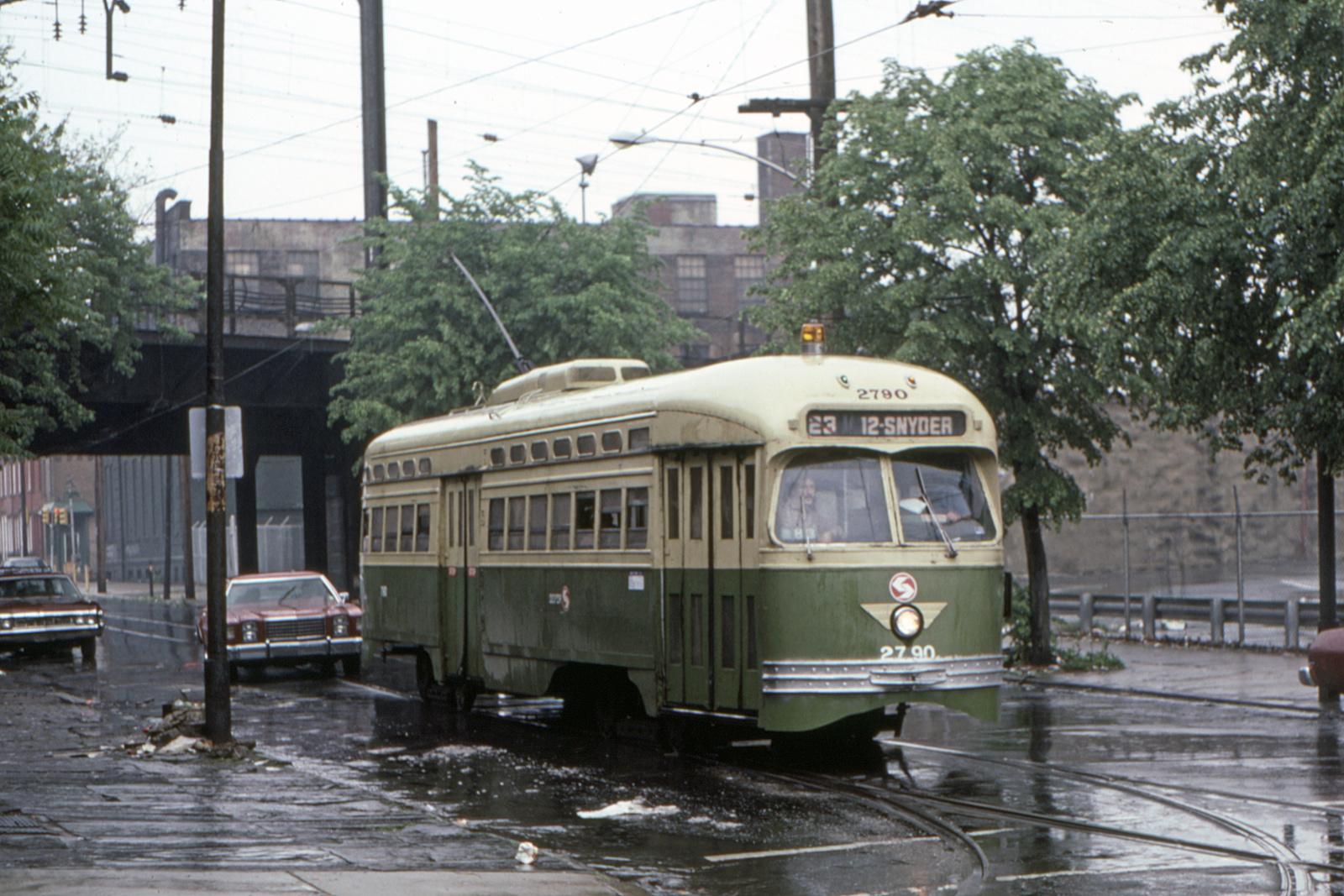 (734k, 1600x1067)<br><b>Country:</b> United States<br><b>City:</b> Philadelphia, PA<br><b>System:</b> SEPTA (or Predecessor)<br><b>Line:</b> Rt. 23-Germantown<br><b>Location:</b> 11th/Susquehanna<br><b>Car:</b> PTC/SEPTA Postwar All-electric PCC (St.Louis, 1947) 2790 <br><b>Collection of:</b> David Pirmann<br><b>Date:</b> 7/1983<br><b>Viewed (this week/total):</b> 1 / 113