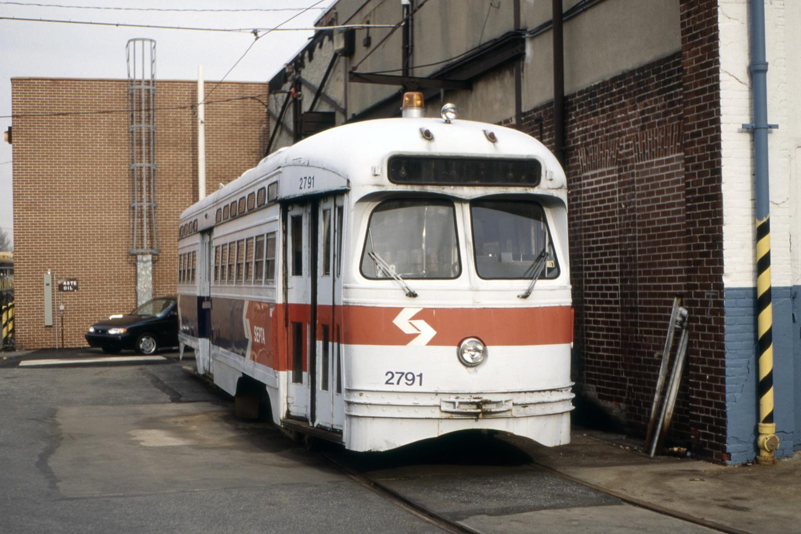 (702k, 1600x1067)<br><b>Country:</b> United States<br><b>City:</b> Philadelphia, PA<br><b>System:</b> SEPTA (or Predecessor)<br><b>Line:</b> Rt. 23-Germantown<br><b>Location:</b> Germantown Depot<br><b>Car:</b> PTC/SEPTA Postwar All-electric PCC (St.Louis, 1947) 2791 <br><b>Collection of:</b> David Pirmann<br><b>Date:</b> 12/1994<br><b>Viewed (this week/total):</b> 1 / 93