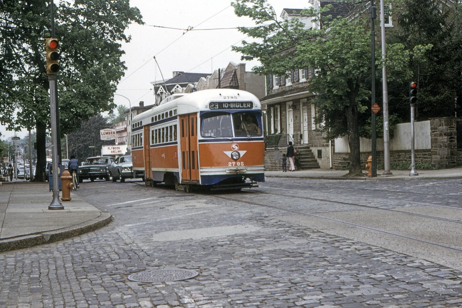 (1028k, 1600x1067)<br><b>Country:</b> United States<br><b>City:</b> Philadelphia, PA<br><b>System:</b> SEPTA (or Predecessor)<br><b>Line:</b> Rt. 23-Germantown<br><b>Location:</b> Germantown/Upsal<br><b>Car:</b> PTC/SEPTA Postwar All-electric PCC (St.Louis, 1947) 2795 <br><b>Collection of:</b> David Pirmann<br><b>Date:</b> 5/11/1974<br><b>Viewed (this week/total):</b> 0 / 90