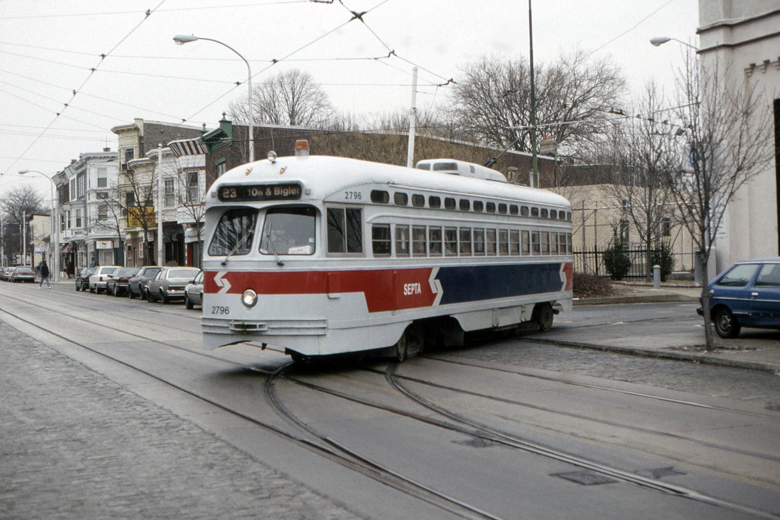 (827k, 1600x1067)<br><b>Country:</b> United States<br><b>City:</b> Philadelphia, PA<br><b>System:</b> SEPTA (or Predecessor)<br><b>Line:</b> Rt. 23-Germantown<br><b>Location:</b> Germantown Depot<br><b>Car:</b> PTC/SEPTA Postwar All-electric PCC (St.Louis, 1947) 2796 <br><b>Collection of:</b> David Pirmann<br><b>Date:</b> 2/13/1992<br><b>Viewed (this week/total):</b> 0 / 64