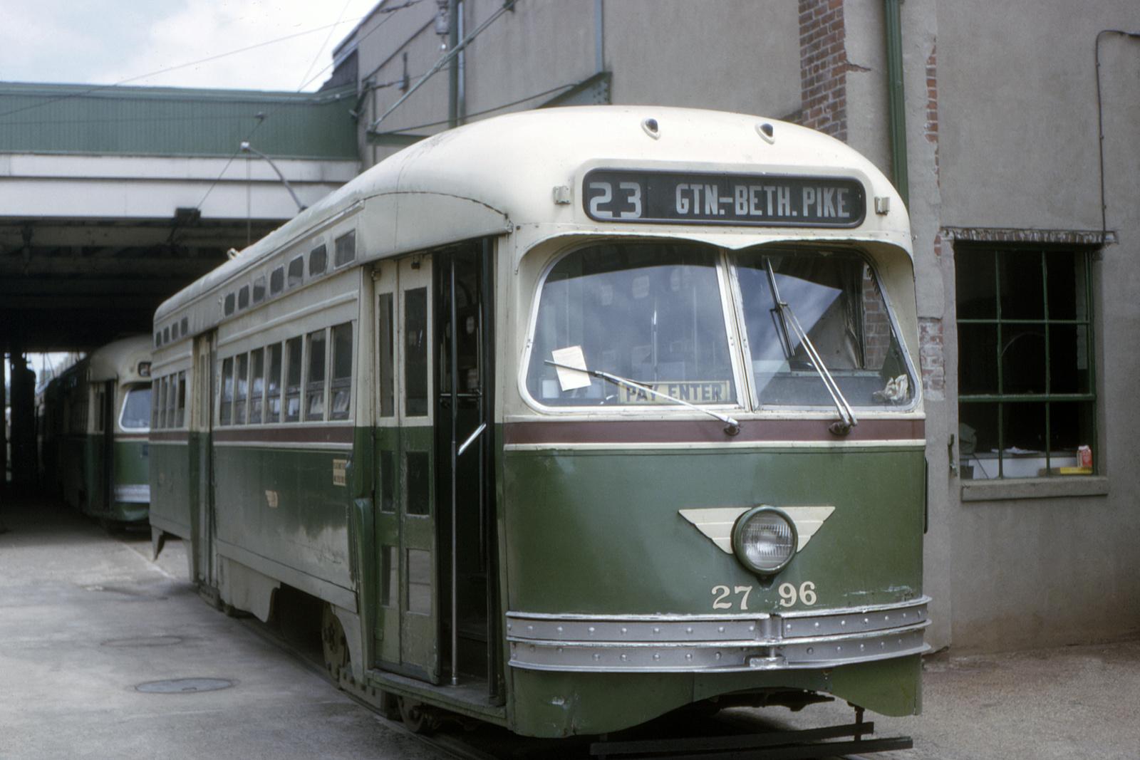 (575k, 1600x1067)<br><b>Country:</b> United States<br><b>City:</b> Philadelphia, PA<br><b>System:</b> SEPTA (or Predecessor)<br><b>Line:</b> Rt. 23-Germantown<br><b>Location:</b> Germantown Depot<br><b>Car:</b> PTC/SEPTA Postwar All-electric PCC (St.Louis, 1947) 2796 <br><b>Collection of:</b> David Pirmann<br><b>Date:</b> 5/1964<br><b>Viewed (this week/total):</b> 0 / 66
