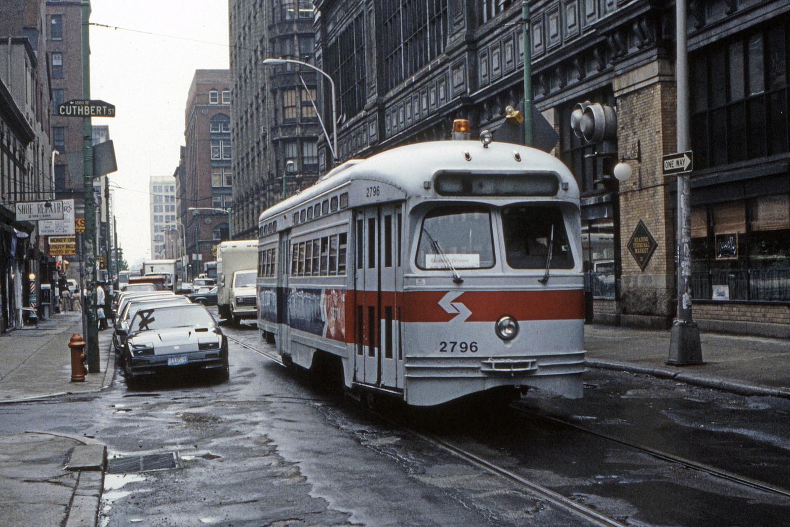 (1088k, 1600x1067)<br><b>Country:</b> United States<br><b>City:</b> Philadelphia, PA<br><b>System:</b> SEPTA (or Predecessor)<br><b>Line:</b> Rt. 23-Germantown<br><b>Location:</b> 12th/Cuthbert<br><b>Car:</b> PTC/SEPTA Postwar All-electric PCC (St.Louis, 1947) 2796 <br><b>Collection of:</b> David Pirmann<br><b>Date:</b> 5/1988<br><b>Viewed (this week/total):</b> 1 / 109
