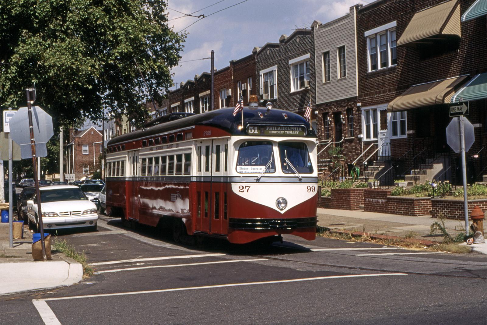 (1012k, 1600x1067)<br><b>Country:</b> United States<br><b>City:</b> Philadelphia, PA<br><b>System:</b> SEPTA (or Predecessor)<br><b>Line:</b> Rt. 23-Germantown<br><b>Location:</b> Marvine/Bigler<br><b>Car:</b> PTC/SEPTA Postwar All-electric PCC (St.Louis, 1947) 2799 <br><b>Collection of:</b> David Pirmann<br><b>Date:</b> 9/1995<br><b>Viewed (this week/total):</b> 0 / 105