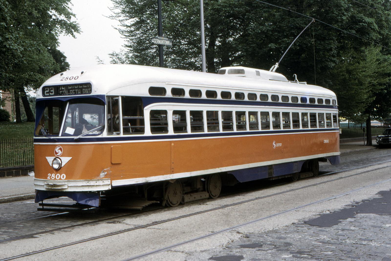 (897k, 1600x1067)<br><b>Country:</b> United States<br><b>City:</b> Philadelphia, PA<br><b>System:</b> SEPTA (or Predecessor)<br><b>Line:</b> Rt. 23-Germantown<br><b>Location:</b> Germantown/Harvey<br><b>Car:</b> PTC/SEPTA Postwar All-electric PCC (St.Louis, 1947) 2800 <br><b>Collection of:</b> David Pirmann<br><b>Date:</b> 5/11/1974<br><b>Viewed (this week/total):</b> 1 / 95