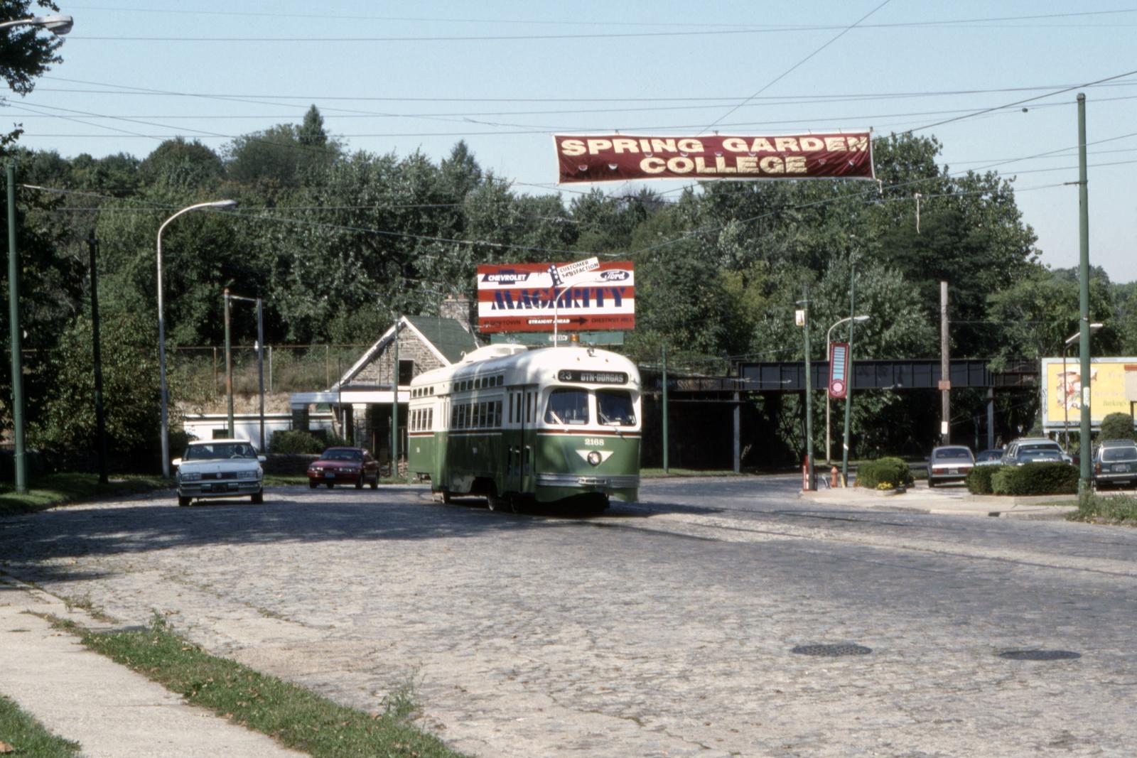 (800k, 1600x1067)<br><b>Country:</b> United States<br><b>City:</b> Philadelphia, PA<br><b>System:</b> SEPTA (or Predecessor)<br><b>Line:</b> Rt. 23-Germantown<br><b>Location:</b> Germantown/Highland<br><b>Car:</b> PTC/SEPTA Postwar All-electric PCC (St.Louis, 1948) 2168 <br><b>Collection of:</b> David Pirmann<br><b>Date:</b> 10/1992<br><b>Viewed (this week/total):</b> 1 / 88