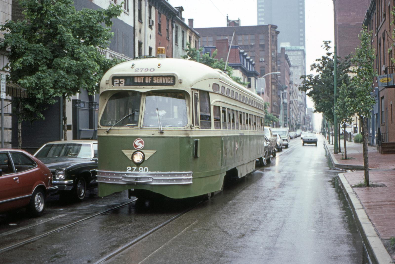 (752k, 1600x1067)<br><b>Country:</b> United States<br><b>City:</b> Philadelphia, PA<br><b>System:</b> SEPTA (or Predecessor)<br><b>Line:</b> Rt. 23-Germantown<br><b>Location:</b> 12th/Manning<br><b>Car:</b> PTC/SEPTA Postwar All-electric PCC (St.Louis, 1947) 2790 <br><b>Collection of:</b> David Pirmann<br><b>Date:</b> 5/22/1983<br><b>Viewed (this week/total):</b> 1 / 99