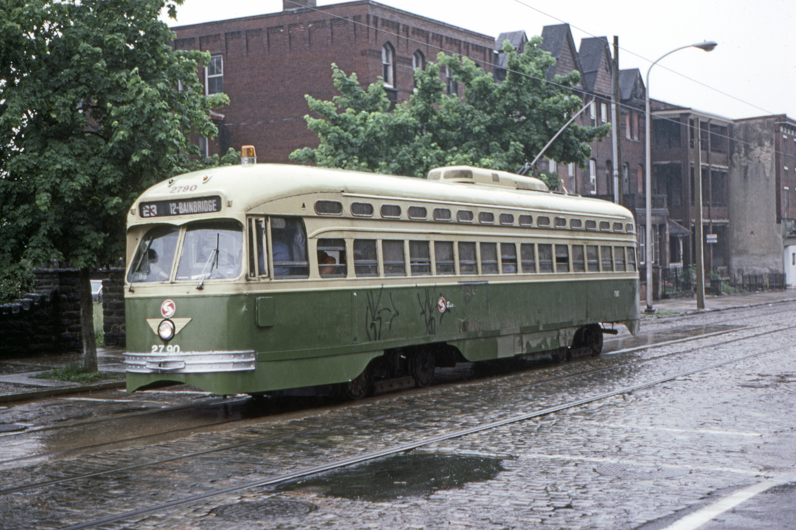 (797k, 1600x1067)<br><b>Country:</b> United States<br><b>City:</b> Philadelphia, PA<br><b>System:</b> SEPTA (or Predecessor)<br><b>Line:</b> Rt. 23-Germantown<br><b>Location:</b> Germantown/Logan<br><b>Car:</b> PTC/SEPTA Postwar All-electric PCC (St.Louis, 1947) 2790 <br><b>Collection of:</b> David Pirmann<br><b>Date:</b> 5/22/1983<br><b>Viewed (this week/total):</b> 2 / 73