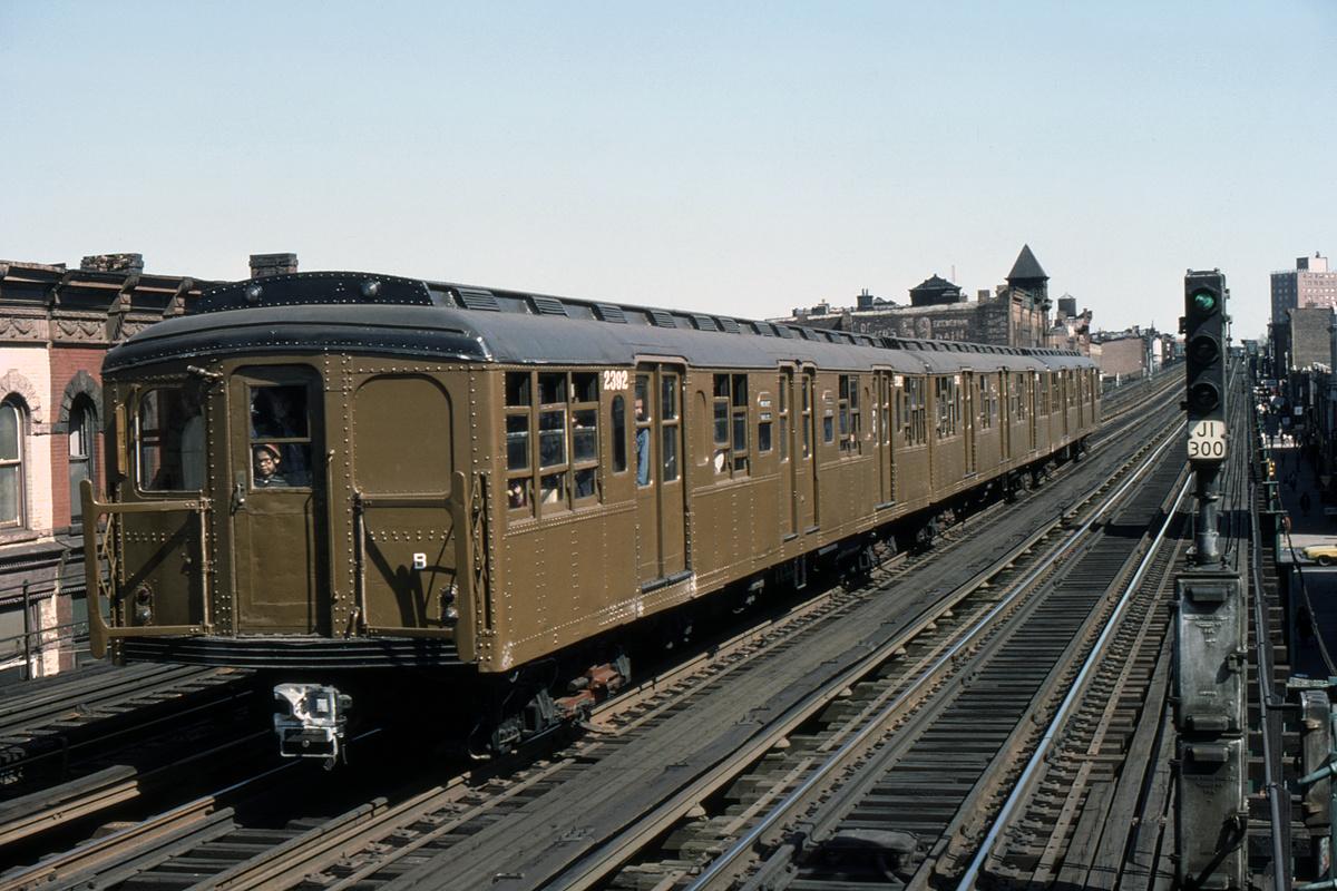 (476k, 1200x800)<br><b>Country:</b> United States<br><b>City:</b> New York<br><b>System:</b> New York City Transit<br><b>Line:</b> BMT Nassau Street-Jamaica Line<br><b>Location:</b> Halsey Street<br><b>Route:</b> Fan Trip<br><b>Car:</b> BMT A/B-Type Standard 2392-2391-2390 <br><b>Photo by:</b> William J. Madden<br><b>Collection of:</b> David Pirmann<br><b>Date:</b> 4/30/1977<br><b>Viewed (this week/total):</b> 0 / 206