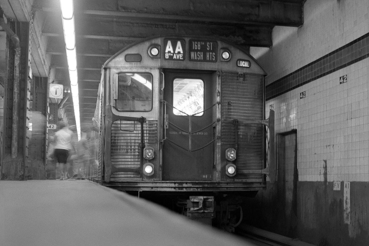 (344k, 1200x800)<br><b>Country:</b> United States<br><b>City:</b> New York<br><b>System:</b> New York City Transit<br><b>Line:</b> IND 8th Avenue Line<br><b>Location:</b> 42nd Street/Port Authority Bus Terminal<br><b>Route:</b> AA<br><b>Car:</b> R-32 (Budd, 1964)  <br><b>Collection of:</b> David Pirmann<br><b>Date:</b> 8/23/1969<br><b>Viewed (this week/total):</b> 14 / 489