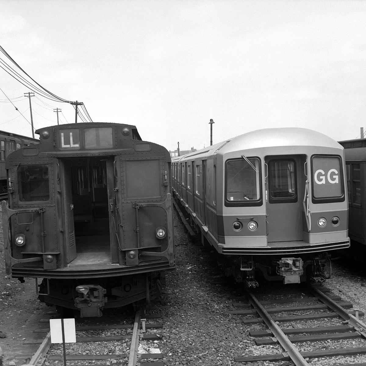 (511k, 1200x1200)<br><b>Country:</b> United States<br><b>City:</b> New York<br><b>System:</b> New York City Transit<br><b>Location:</b> Rockaway Parkway (Canarsie) Yard<br><b>Car:</b> R-1/R-9 Series  <br><b>Collection of:</b> David Pirmann<br><b>Date:</b> 4/6/1968<br><b>Viewed (this week/total):</b> 1 / 275