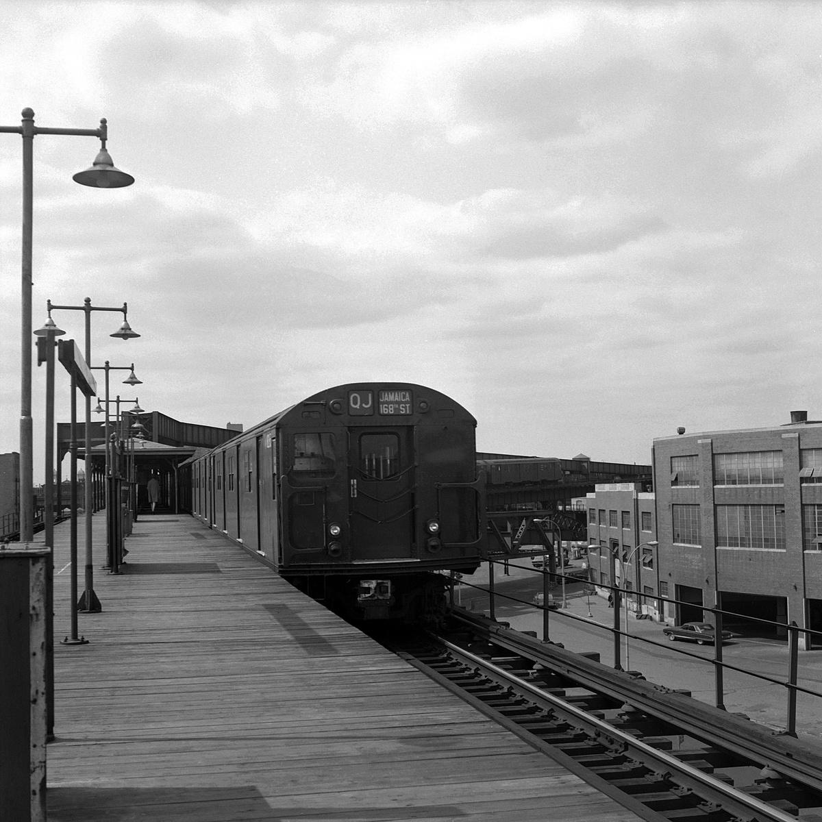 (506k, 1200x1200)<br><b>Country:</b> United States<br><b>City:</b> New York<br><b>System:</b> New York City Transit<br><b>Line:</b> BMT Nassau Street-Jamaica Line<br><b>Location:</b> Alabama Avenue<br><b>Route:</b> QJ<br><b>Car:</b> R-27/R-30 Series (Number Unknown)  <br><b>Collection of:</b> David Pirmann<br><b>Date:</b> 3/22/1969<br><b>Viewed (this week/total):</b> 0 / 279