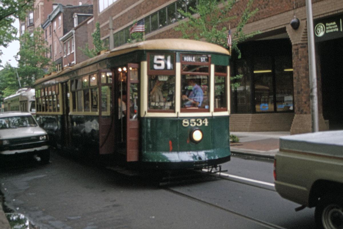 (470k, 1200x800)<br><b>Country:</b> United States<br><b>City:</b> Philadelphia, PA<br><b>System:</b> SEPTA (or Predecessor)<br><b>Line:</b> Rt. 23-Germantown<br><b>Location:</b> 11th/Walnut<br><b>Route:</b> Fan Trip<br><b>Car:</b> PTC 8534 <br><b>Collection of:</b> David Pirmann<br><b>Date:</b> 5/19/1995<br><b>Viewed (this week/total):</b> 0 / 76