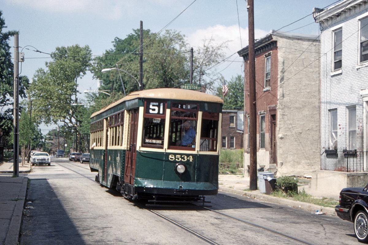 (550k, 1200x800)<br><b>Country:</b> United States<br><b>City:</b> Philadelphia, PA<br><b>System:</b> SEPTA (or Predecessor)<br><b>Line:</b> SEPTA Subway-Surface Diversion Routes<br><b>Location:</b> Ogden/Preston<br><b>Route:</b> Fan Trip<br><b>Car:</b> PTC 8534 <br><b>Collection of:</b> David Pirmann<br><b>Date:</b> 8/27/1995<br><b>Viewed (this week/total):</b> 0 / 97