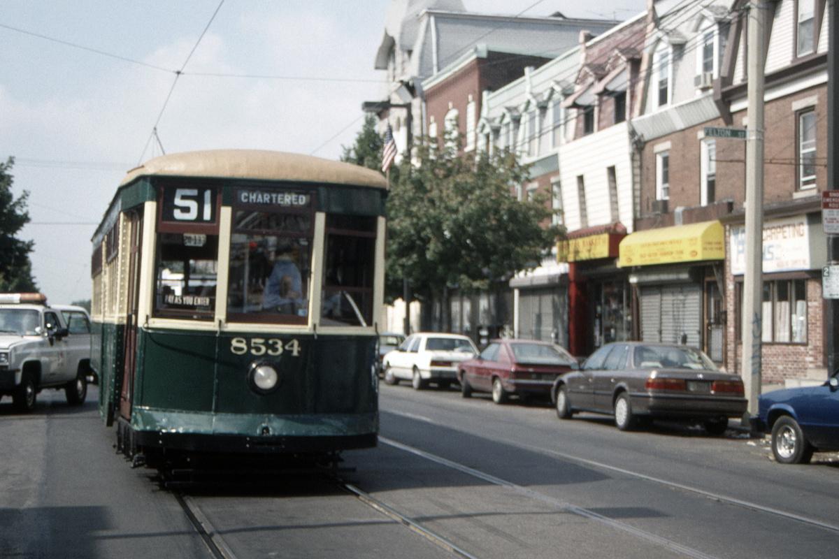 (403k, 1200x800)<br><b>Country:</b> United States<br><b>City:</b> Philadelphia, PA<br><b>System:</b> SEPTA (or Predecessor)<br><b>Line:</b> Rt. 11-Darby<br><b>Location:</b> Woodland/Felton<br><b>Route:</b> Fan Trip<br><b>Car:</b> PTC 8534 <br><b>Collection of:</b> David Pirmann<br><b>Date:</b> 8/27/1995<br><b>Viewed (this week/total):</b> 0 / 100