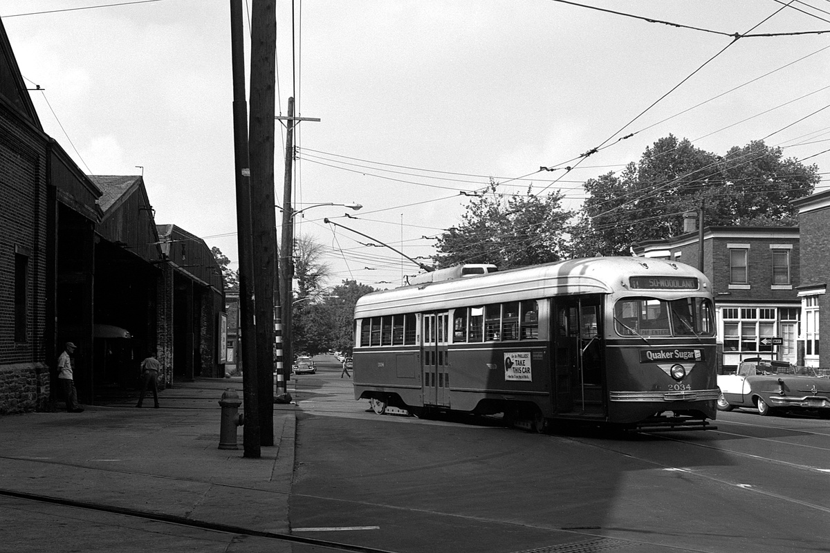 (385k, 1200x800)<br><b>Country:</b> United States<br><b>City:</b> Philadelphia, PA<br><b>System:</b> SEPTA (or Predecessor)<br><b>Line:</b> Rt. 11-Darby<br><b>Location:</b> Woodland/50th<br><b>Car:</b> PTC/SEPTA Pre-war Air-car PCC (St.Louis, 1941) 2034 <br><b>Collection of:</b> David Pirmann<br><b>Date:</b> 8/9/1965<br><b>Viewed (this week/total):</b> 0 / 84