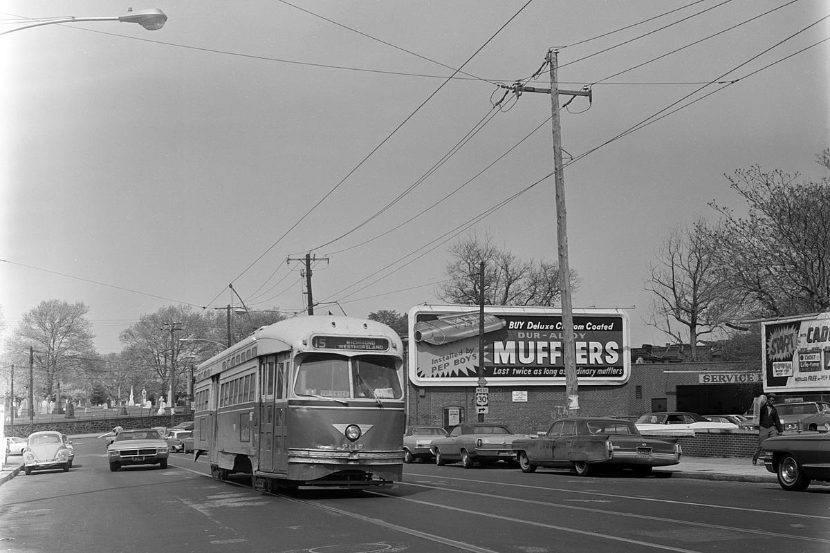 (361k, 1200x800)<br><b>Country:</b> United States<br><b>City:</b> Philadelphia, PA<br><b>System:</b> SEPTA (or Predecessor)<br><b>Line:</b> Rt. 15-Girard<br><b>Location:</b> Girard/48th/Lancaster<br><b>Car:</b> PTC/SEPTA Postwar All-electric PCC (St.Louis, 1948) 2115 <br><b>Collection of:</b> David Pirmann<br><b>Date:</b> 5/6/1972<br><b>Viewed (this week/total):</b> 0 / 101