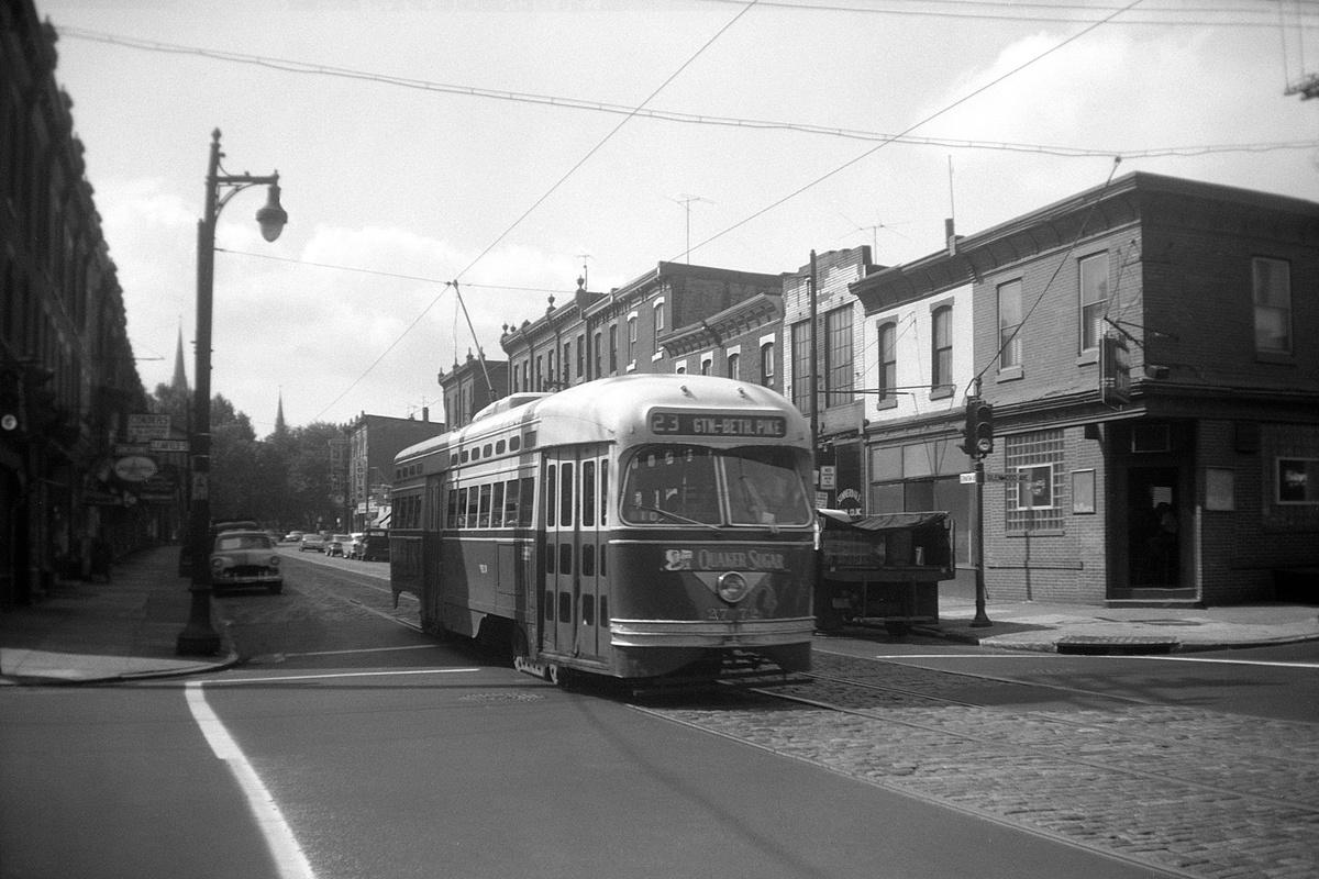 (364k, 1200x800)<br><b>Country:</b> United States<br><b>City:</b> Philadelphia, PA<br><b>System:</b> SEPTA (or Predecessor)<br><b>Line:</b> Rt. 23-Germantown<br><b>Location:</b> Germantown/Glenwood/Clearfield<br><b>Car:</b> PTC/SEPTA Postwar All-electric PCC (St.Louis, 1947) 2772 <br><b>Collection of:</b> David Pirmann<br><b>Date:</b> 7/2/1960<br><b>Viewed (this week/total):</b> 0 / 67