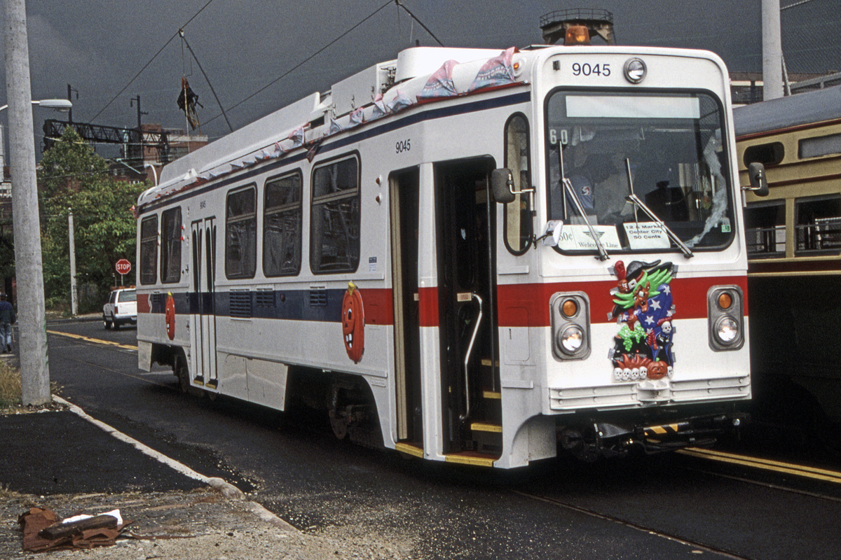 (552k, 1200x800)<br><b>Country:</b> United States<br><b>City:</b> Philadelphia, PA<br><b>System:</b> SEPTA (or Predecessor)<br><b>Line:</b> Rt. 23-Germantown<br><b>Location:</b> 12th/Noble<br><b>Route:</b> Welcome Line<br><b>Car:</b> SEPTA K Single-ended (Kawasaki, 1981) 9045 <br><b>Collection of:</b> David Pirmann<br><b>Date:</b> 10/21/1995<br><b>Notes:</b> Welcome Line service using 23-Germantown trackage in Center City.<br><b>Viewed (this week/total):</b> 0 / 85