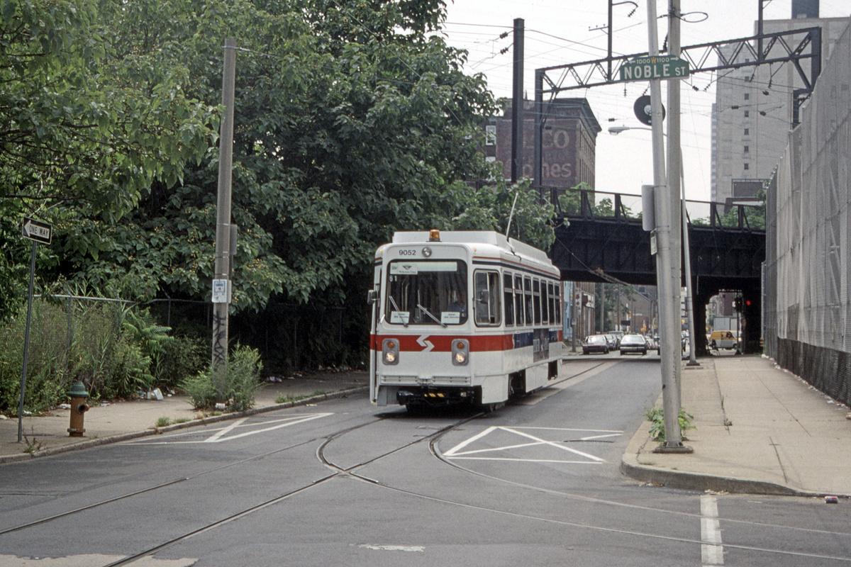 (569k, 1200x800)<br><b>Country:</b> United States<br><b>City:</b> Philadelphia, PA<br><b>System:</b> SEPTA (or Predecessor)<br><b>Line:</b> Rt. 23-Germantown<br><b>Location:</b> 11th/Noble<br><b>Route:</b> Welcome Line<br><b>Car:</b> SEPTA K Single-ended (Kawasaki, 1981) 9052 <br><b>Collection of:</b> David Pirmann<br><b>Date:</b> 8/5/1995<br><b>Notes:</b> Welcome Line service using 23-Germantown trackage in Center City.<br><b>Viewed (this week/total):</b> 0 / 111