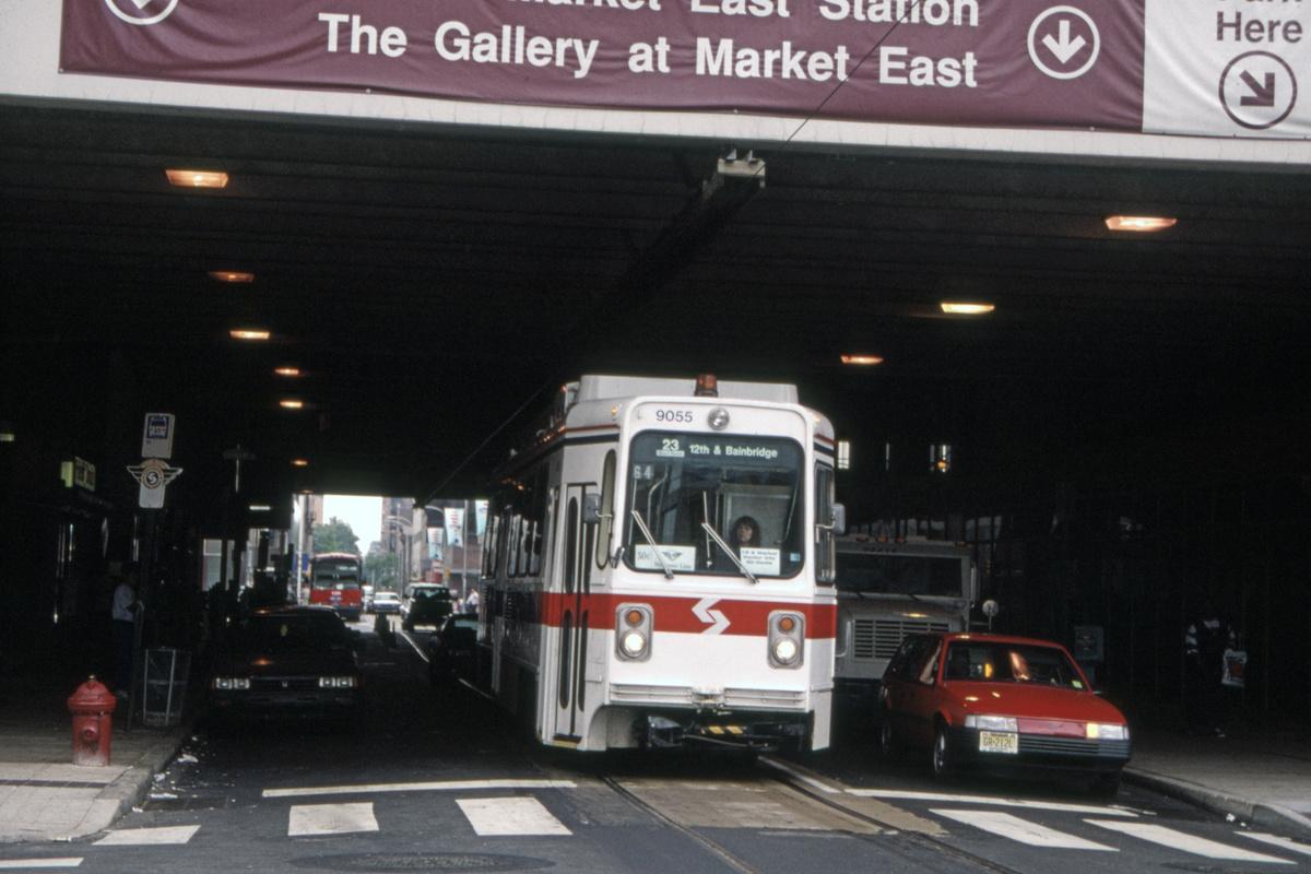 (372k, 1200x800)<br><b>Country:</b> United States<br><b>City:</b> Philadelphia, PA<br><b>System:</b> SEPTA (or Predecessor)<br><b>Line:</b> Rt. 23-Germantown<br><b>Location:</b> 11th/Arch<br><b>Route:</b> Welcome Line<br><b>Car:</b> SEPTA K Single-ended (Kawasaki, 1981) 9055 <br><b>Collection of:</b> David Pirmann<br><b>Date:</b> 7/1/1995<br><b>Notes:</b> Welcome Line service using 23-Germantown trackage in Center City.<br><b>Viewed (this week/total):</b> 0 / 91