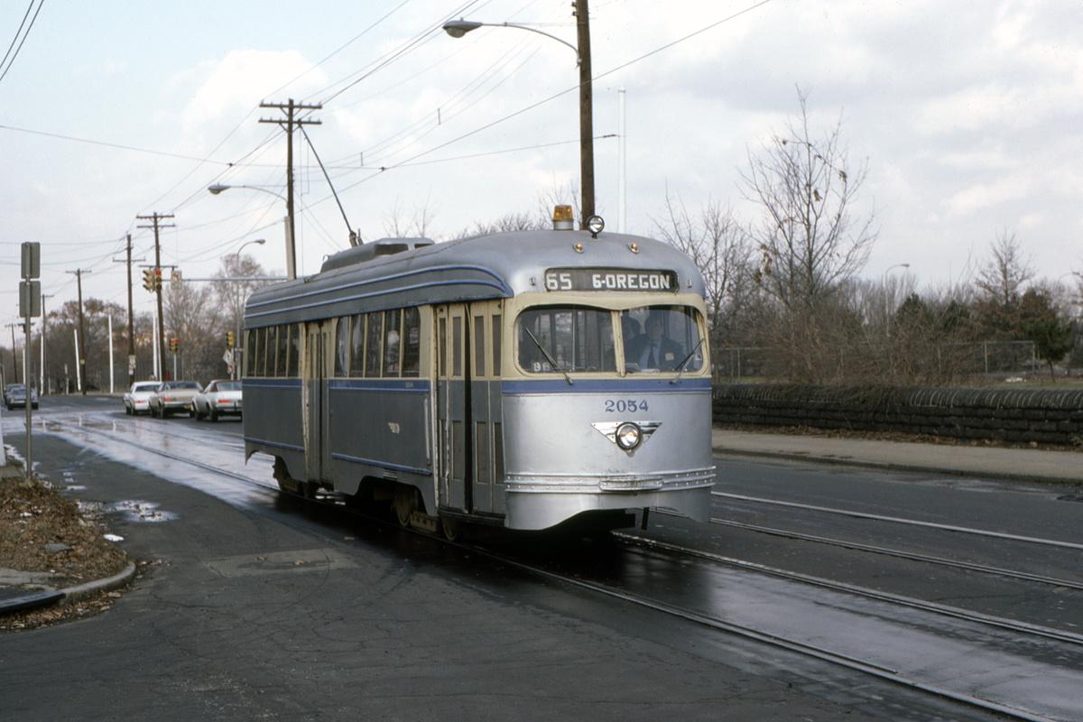 (372k, 1200x800)<br><b>Country:</b> United States<br><b>City:</b> Philadelphia, PA<br><b>System:</b> SEPTA (or Predecessor)<br><b>Route:</b> Fan Trip<br><b>Car:</b> PTC/SEPTA Pre-war Air-car PCC (St.Louis, 1941) 2054 <br><b>Collection of:</b> David Pirmann<br><b>Date:</b> 1/5/1986<br><b>Notes:</b> Old York/Hunting Park-Jerome s/b<br><b>Viewed (this week/total):</b> 0 / 97