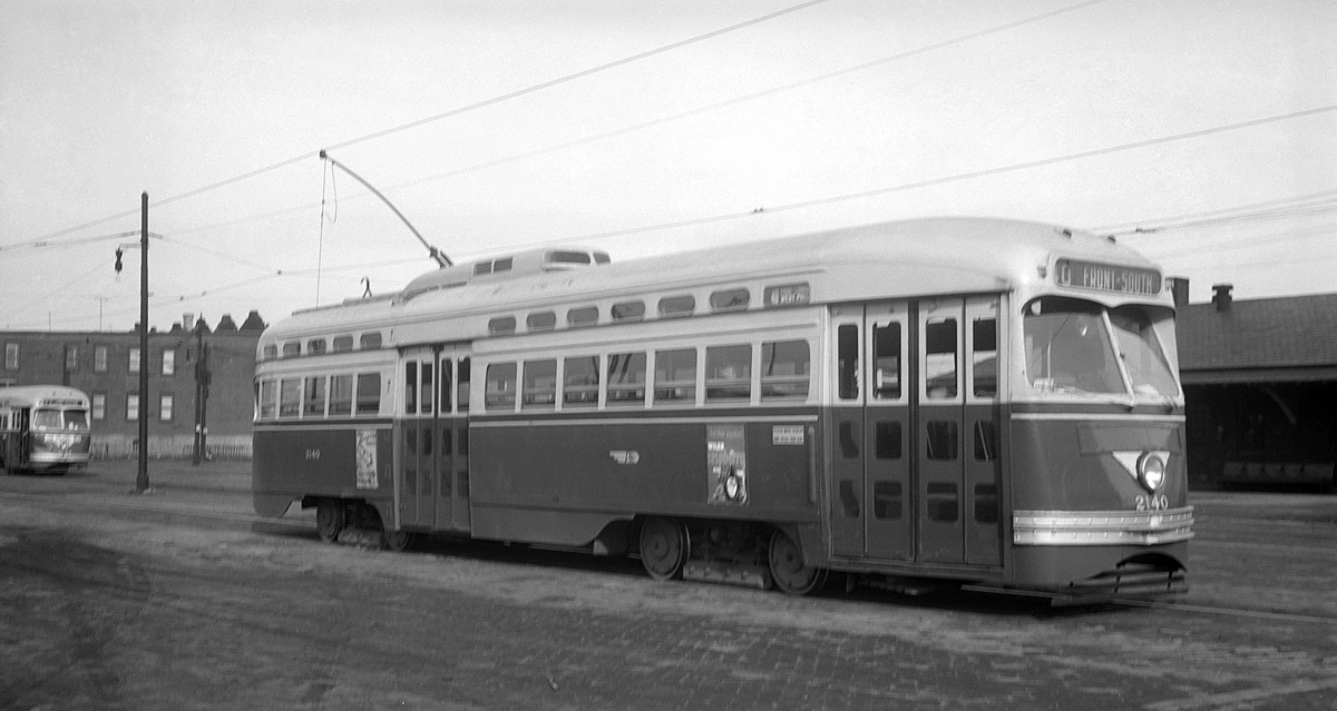 (244k, 1200x639)<br><b>Country:</b> United States<br><b>City:</b> Philadelphia, PA<br><b>System:</b> SEPTA (or Predecessor)<br><b>Car:</b> PTC/SEPTA Postwar All-electric PCC (St.Louis, 1948) 2140 <br><b>Photo by:</b> Mark D. Meyer<br><b>Collection of:</b> David Pirmann<br><b>Date:</b> 2/11/1953<br><b>Notes:</b> Rt 40-Front-South<br><b>Viewed (this week/total):</b> 0 / 102