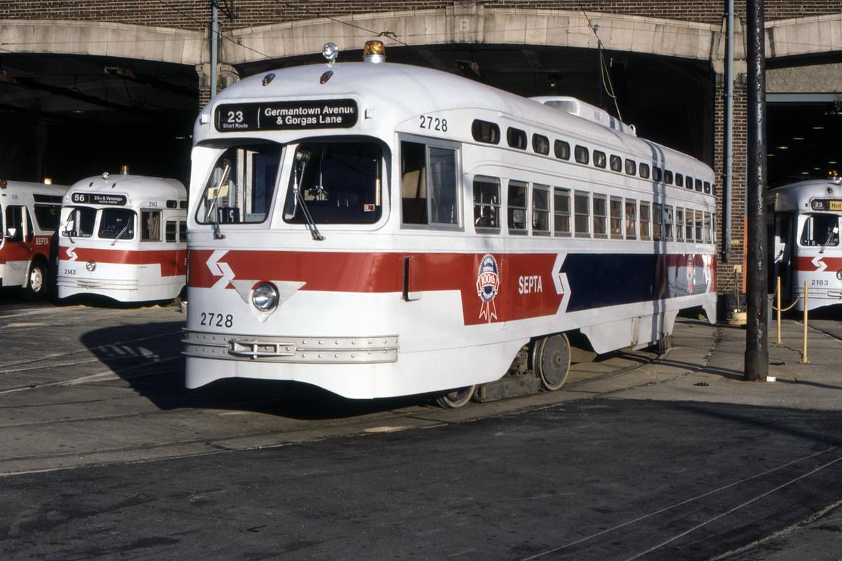 (448k, 1200x800)<br><b>Country:</b> United States<br><b>City:</b> Philadelphia, PA<br><b>System:</b> SEPTA (or Predecessor)<br><b>Car:</b> PTC/SEPTA Postwar All-electric PCC (St.Louis, 1947) 2728 <br><b>Collection of:</b> David Pirmann<br><b>Date:</b> 11/1985<br><b>Viewed (this week/total):</b> 0 / 105